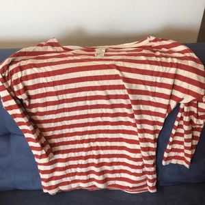 Zara red and white striped shoulder shirt
